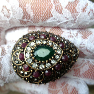ART DECORE HAND CRAFTED MULTI STONE LADYS RING 7